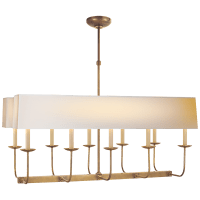 Linear Branched Chandelier in Hand-Rubbed Antique Brass with Natural Paper Rectangle Shade