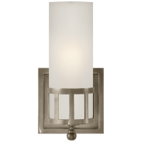Openwork Single Sconce in Antique Nickel with Frosted Glass