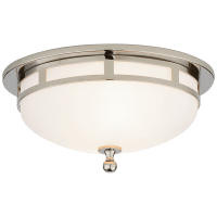 Openwork Small Flush Mount in Chrome with Frosted Glass