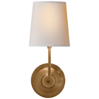 Vendome Single Sconce in Hand-Rubbed Antique Brass with Natural Paper Shade