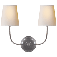 Vendome Double Sconce in Antique Silver with Natural Paper Shades