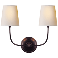 Vendome Double Sconce in Bronze with Natural Paper Shades