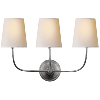 Vendome Triple Sconce in Antique Silver with Natural Paper Shades