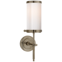 Bryant Bath Sconce in Antique Nickel with White Glass