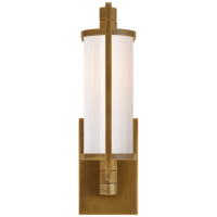 Keeley Short Pivoting Sconce in Hand-Rubbed Antique Brass with White Glass
