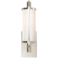 Keeley Short Pivoting Sconce in Polished Nickel with White Glass