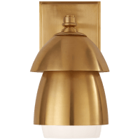 Whitman Small Sconce in Hand-Rubbed Antique Brass w/ Hand-Rubbed Antique Brass and White Glass Shade