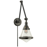 Gale Library Wall Light in Bronze with Seeded Glass