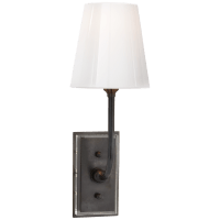 Hulton Sconce in Bronze with Crystal Backplate and White Glass Shade