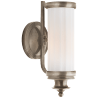 Milton Road Sconce in Antique Nickel with White Glass
