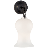 Katie Small Bell Jar Sconce in Bronze with White Glass