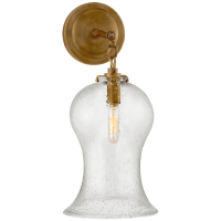 Katie Small Bell Jar Sconce in Hand-Rubbed Antique Brass with Seeded Glass