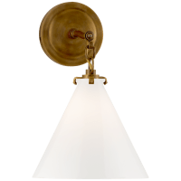 Katie Small Conical Sconce in Hand-Rubbed Antique Brass with White Glass
