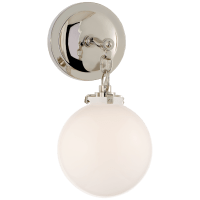 Katie Small Globe Sconce in Polished Nickel with White Glass