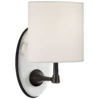 Casper Small Sconce in Bronze and Alabaster with Linen Shade