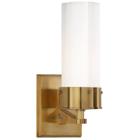 Marais Medium Bath Sconce in Hand-Rubbed Antique Brass with White Glass