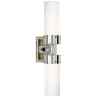 Marais Large Double Bath Sconce in Polished Nickel with White Glass