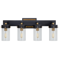 Marais Four-Light Bath Sconce in Bronze and Hand-Rubbed Antique Brass with Clear Glass