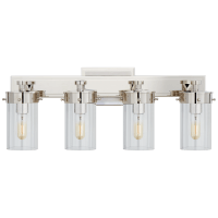 Marais Four-Light Bath Sconce in Polished Nickel with Clear Glass