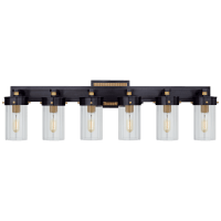 Marais Six-Light Bath Sconce in Bronze and Hand-Rubbed Antique Brass with Clear Glass