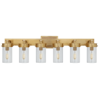 Marais Six-Light Bath Sconce in Hand-Rubbed Antique Brass with Clear Glass