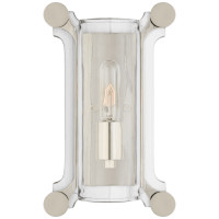 Chirac Small Sconce in Polished Nickel with Clear Glass