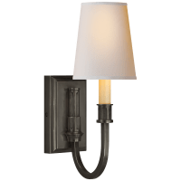 Modern Library Sconce in Bronze with Natural Paper Shade