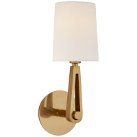 Alpha Single Sconce in Hand-Rubbed Antique Brass with Linen Shade