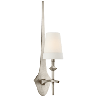Pippa Medium Sconce in Burnished Silver Leaf with Linen Shade