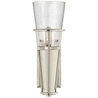 Robinson Single Sconce in Polished Nickel with Seeded Glass