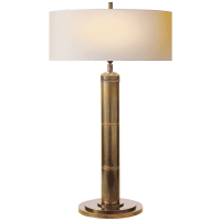Longacre Tall Table Lamp in Hand-Rubbed Antique Brass with Natural Paper Shade