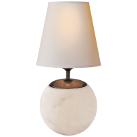 Terri Large Round Table Lamp in Alabaster with Natural Paper Shade