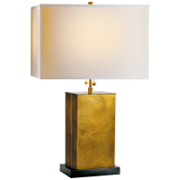 Dixon Small Table Lamp in Hand-Rubbed Antique Brass with Bronze with Natural Paper Shade