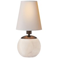 Tiny Terri Round Accent Lamp in Alabaster with Natural Paper Shade