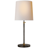 Bryant Large Table Lamp in Bronze and Hand-Rubbed Antique Brass with Natural Paper Shade