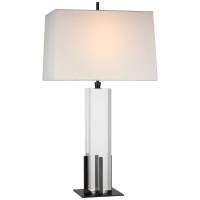 Gironde Large Table Lamp in Crystal and Bronze with Linen Shade