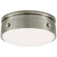 """Hicks 5.5"""" Solitaire Flush Mount in Antique Nickel with White Glass"""