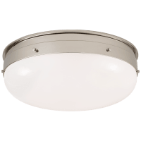 Hicks Medium Flush Mount in Polished Nickel with White Glass