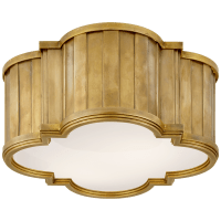 Tilden Small Flush Mount in Hand-Rubbed Antique Brass with White Glass