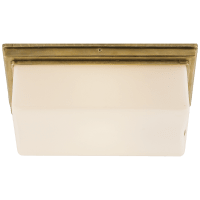 Newhouse Block Wall/Ceiling Light in Hand-Rubbed Antique Brass with White Glass