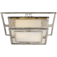 Enrique Flush Mount in Burnished Silver Leaf with White Glass