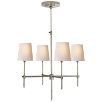 Bryant Small Chandelier in Antique Nickel with Natural Paper Shades