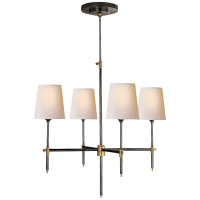 Bryant Small Chandelier in Bronze and Hand-Rubbed Antique Brass with Natural Paper Shades