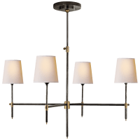 Bryant Large Chandelier in Bronze and Hand-Rubbed Antique Brass with Natural Paper Shades