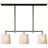 Bryant Small Billiard in Bronze and Hand-Rubbed Antique Brass with Natural Paper Shades