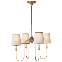 Vendome Small Chandelier in Hand-Rubbed Antique Brass with Natural Paper Shades with Black Trim