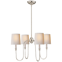 Vendome Small Chandelier in Polished Nickel with Natural Paper Shades
