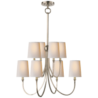 Reed Large Chandelier in Antique Nickel with Natural Paper Shades