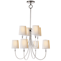 Reed Large Chandelier in Polished Nickel with Natural Paper Shades