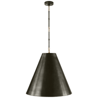 Goodman Large Hanging Lamp in Bronze and Hand-Rubbed Antique Brass with Bronze Shade